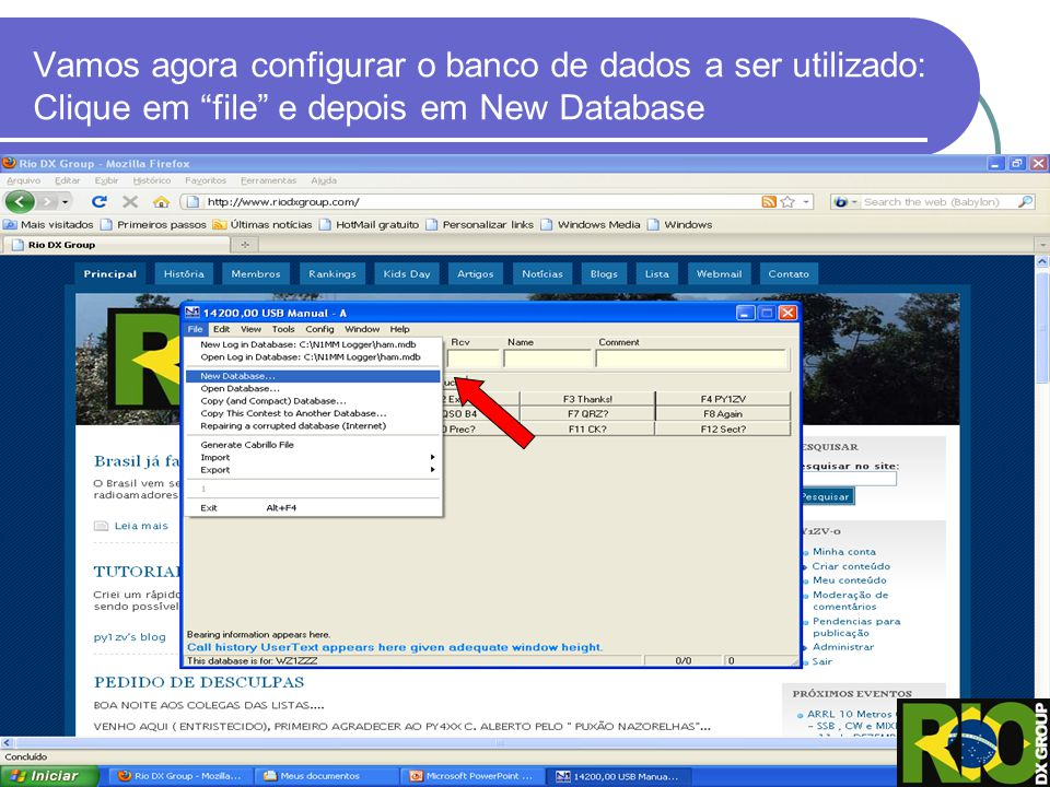 Vamos agora configurar o banco de dados a ser utilizado: Clique em file e depois em New Database