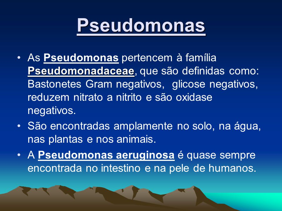 Pseudomonas PseudomonadaceaeAs Pseudomonas pertencem à família Pseudomonadaceae, que são definidas como: Bastonetes Gram negativos, glicose negativos, reduzem nitrato a nitrito e são oxidase negativos.