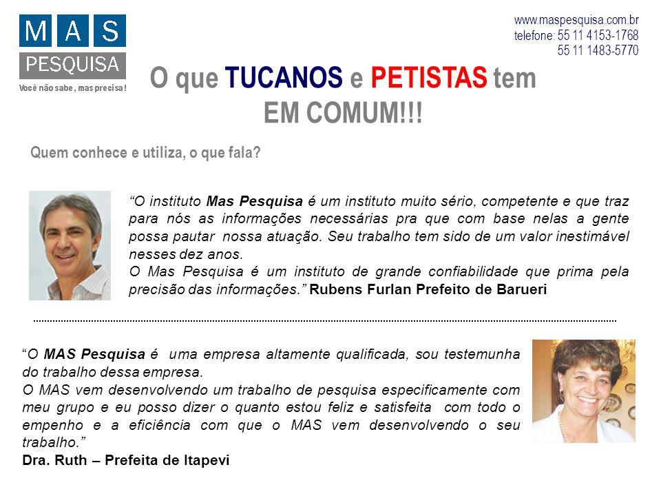 O que TUCANOS e PETISTAS tem EM COMUM!!! www.maspesquisa.com.br telefone: 55 11 4153-1768 55 11 1483-5770 Quem conhece e utiliza, o que fala? O instit