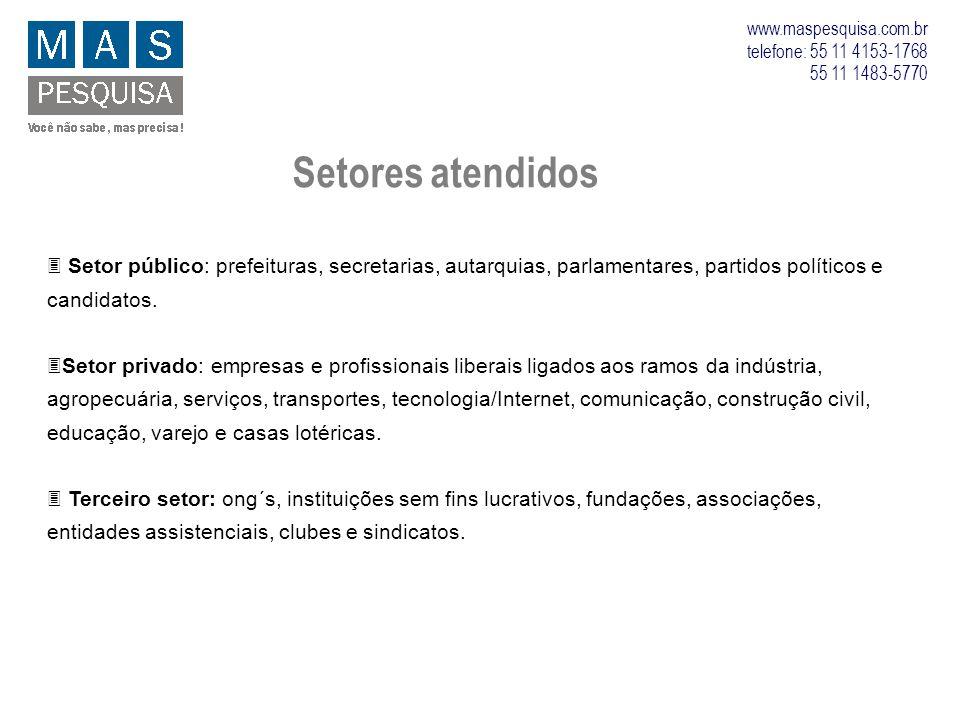 www.maspesquisa.com.br telefone: 55 11 4153-1768 55 11 1483-5770 Setores atendidos 3 Setor público: prefeituras, secretarias, autarquias, parlamentare