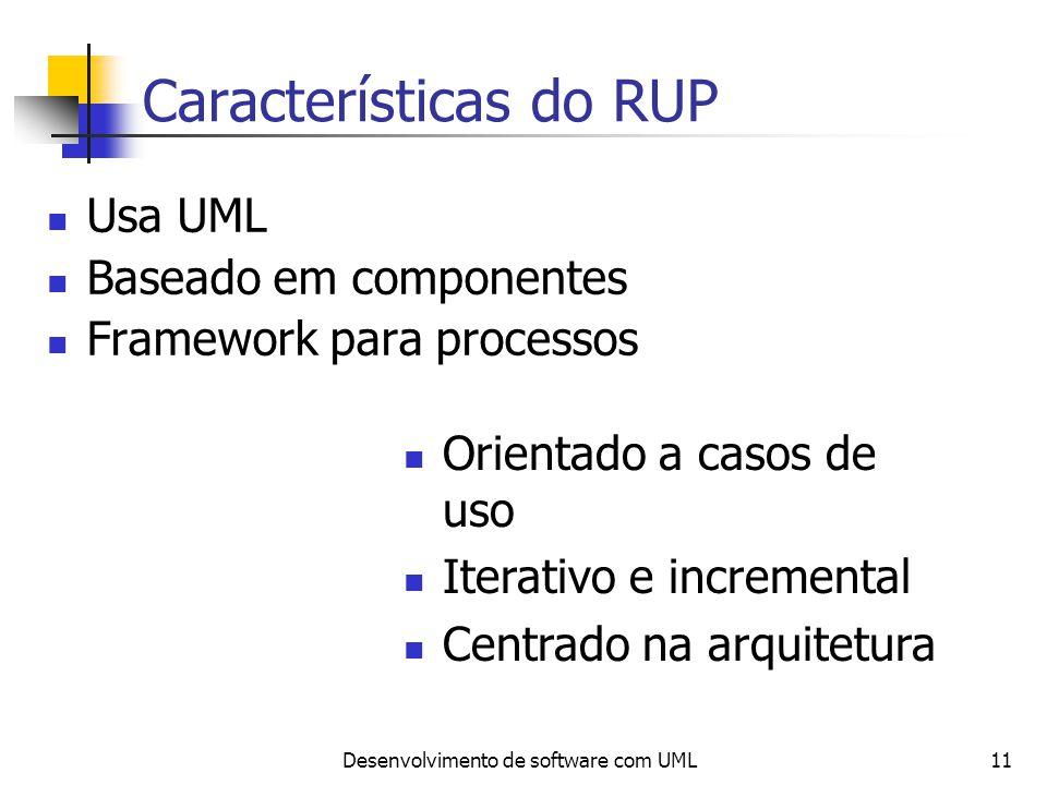 Desenvolvimento de software com UML11 Características do RUP Usa UML Baseado em componentes Framework para processos Orientado a casos de uso Iterativ