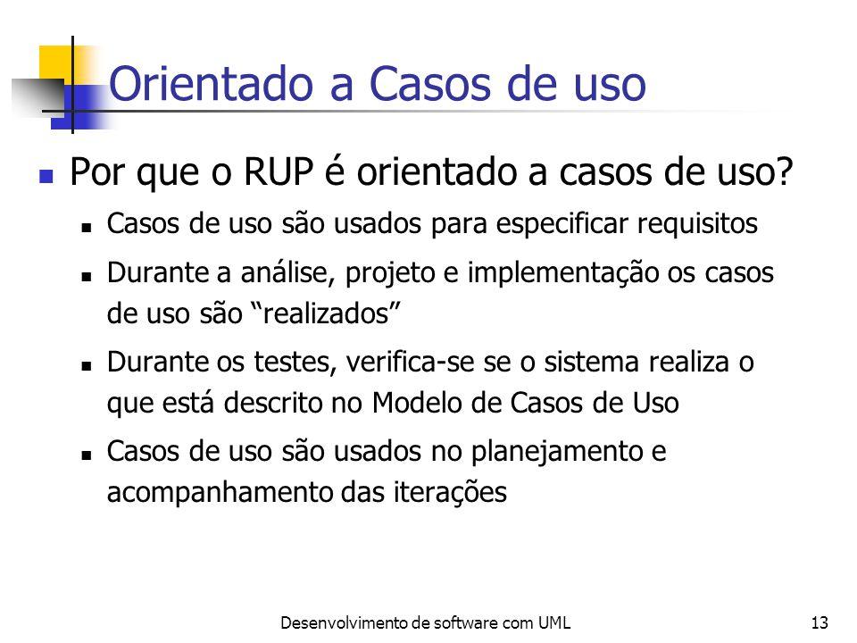 Desenvolvimento de software com UML13 Orientado a Casos de uso Por que o RUP é orientado a casos de uso? Casos de uso são usados para especificar requ