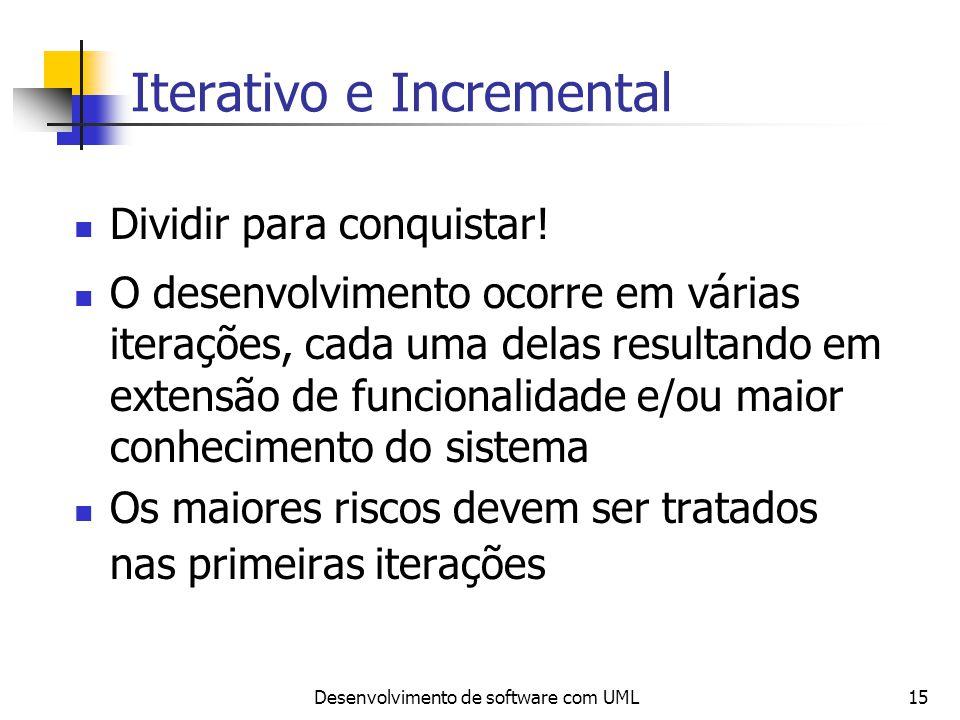 Desenvolvimento de software com UML15 Iterativo e Incremental Dividir para conquistar! O desenvolvimento ocorre em várias iterações, cada uma delas re