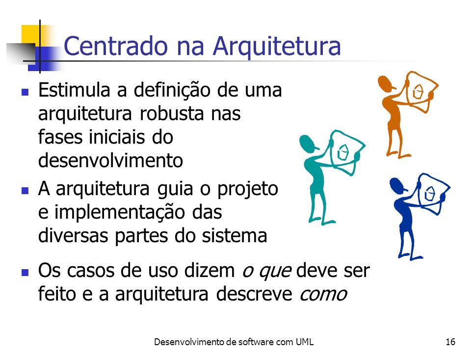 Desenvolvimento de software com UML16 Centrado na Arquitetura Estimula a definição de uma arquitetura robusta nas fases iniciais do desenvolvimento A