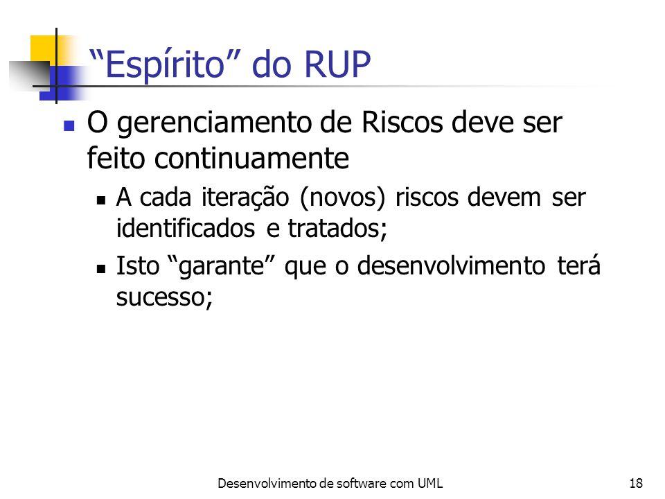 Desenvolvimento de software com UML18 Espírito do RUP O gerenciamento de Riscos deve ser feito continuamente A cada iteração (novos) riscos devem ser