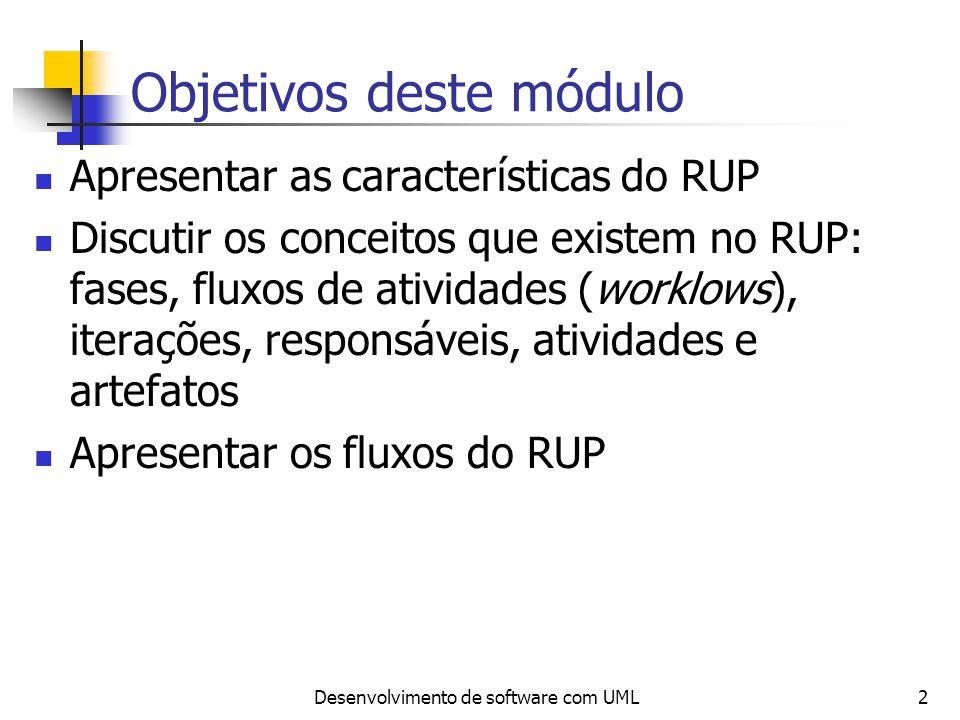 Desenvolvimento de software com UML2 Objetivos deste módulo Apresentar as características do RUP Discutir os conceitos que existem no RUP: fases, flux