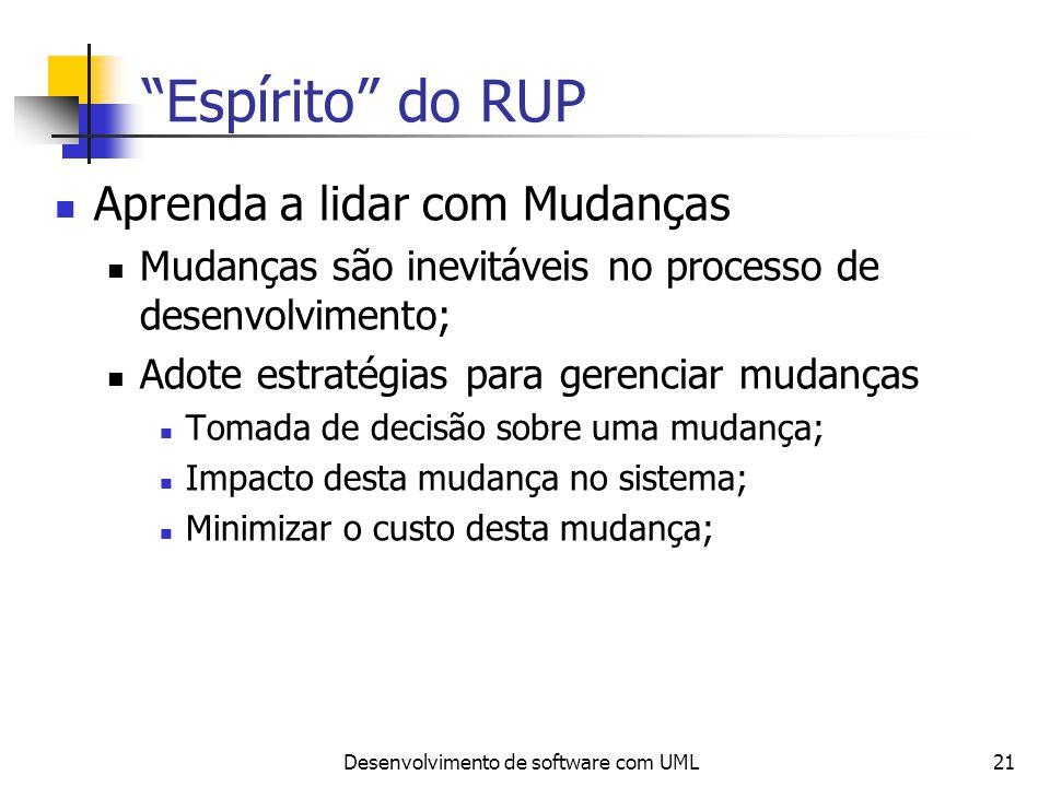 Desenvolvimento de software com UML21 Espírito do RUP Aprenda a lidar com Mudanças Mudanças são inevitáveis no processo de desenvolvimento; Adote estr