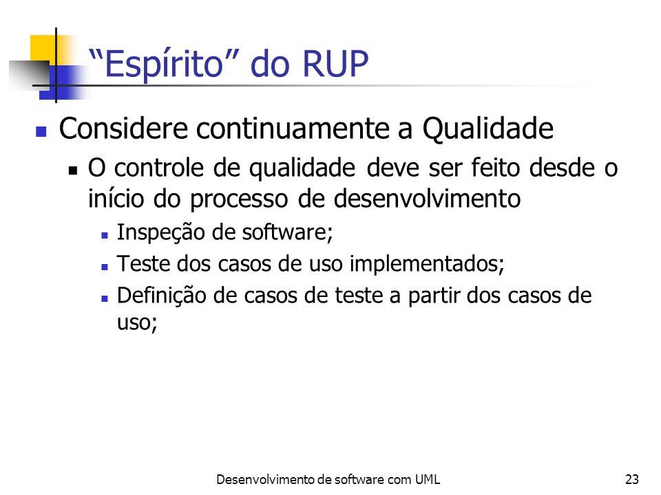 Desenvolvimento de software com UML23 Espírito do RUP Considere continuamente a Qualidade O controle de qualidade deve ser feito desde o início do pro