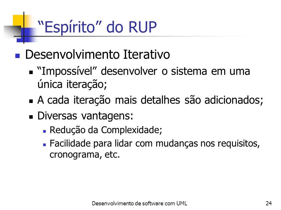 Desenvolvimento de software com UML24 Espírito do RUP Desenvolvimento Iterativo Impossível desenvolver o sistema em uma única iteração; A cada iteraçã