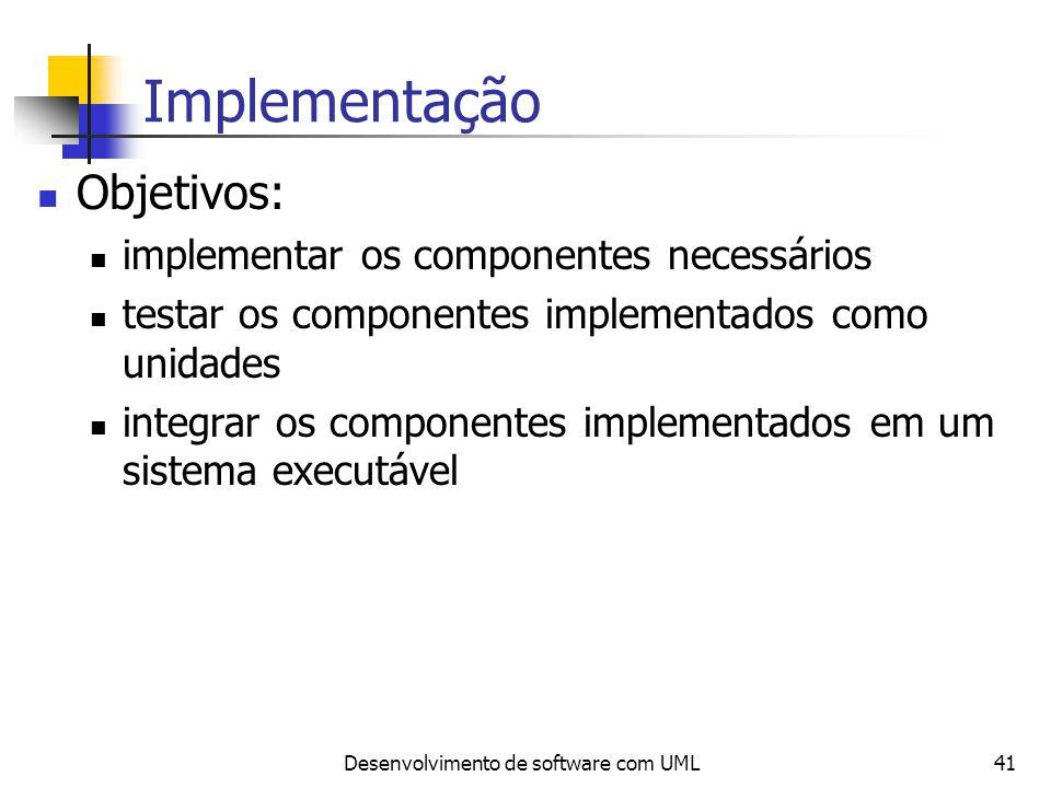 Desenvolvimento de software com UML41 Implementação Objetivos: implementar os componentes necessários testar os componentes implementados como unidade