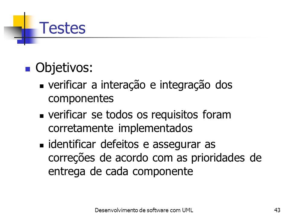 Desenvolvimento de software com UML43 Testes Objetivos: verificar a interação e integração dos componentes verificar se todos os requisitos foram corr