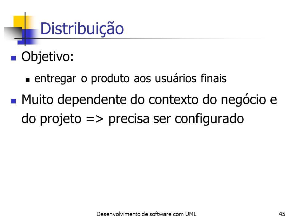 Desenvolvimento de software com UML45 Distribuição Objetivo: entregar o produto aos usuários finais Muito dependente do contexto do negócio e do proje