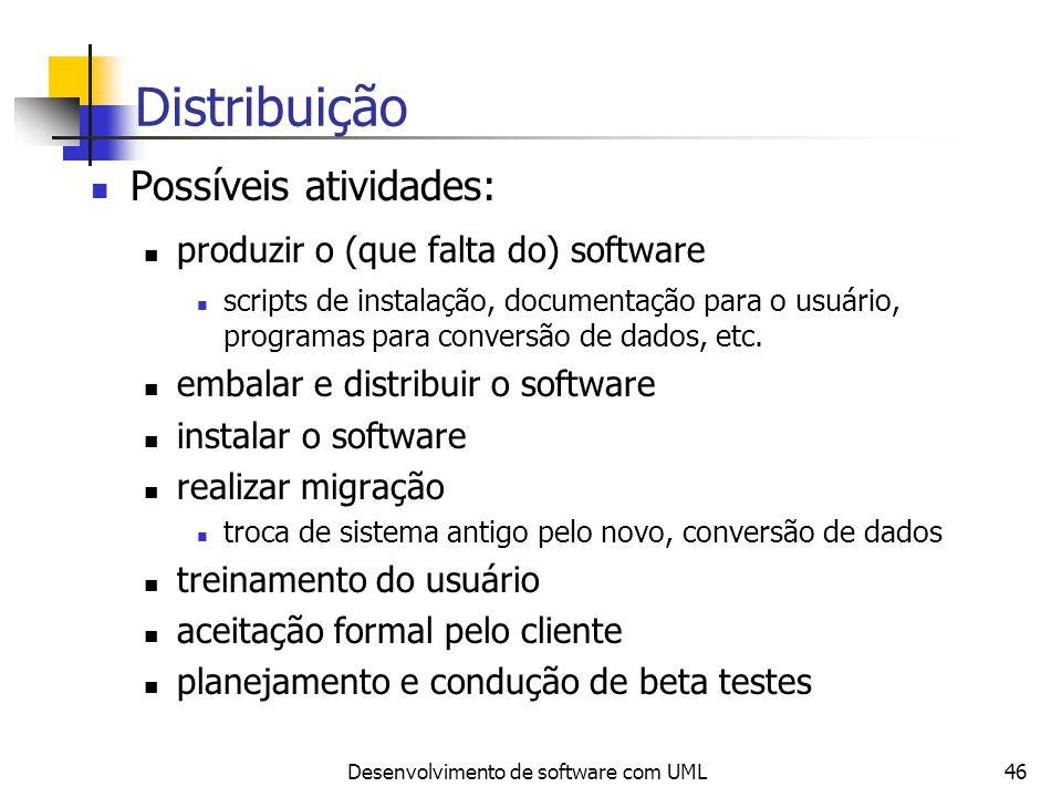 Desenvolvimento de software com UML46 Distribuição Possíveis atividades: produzir o (que falta do) software scripts de instalação, documentação para o