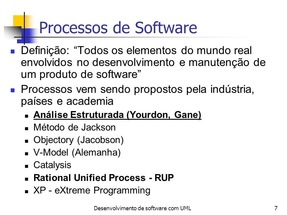 Desenvolvimento de software com UML7 Processos de Software Definição: Todos os elementos do mundo real envolvidos no desenvolvimento e manutenção de u