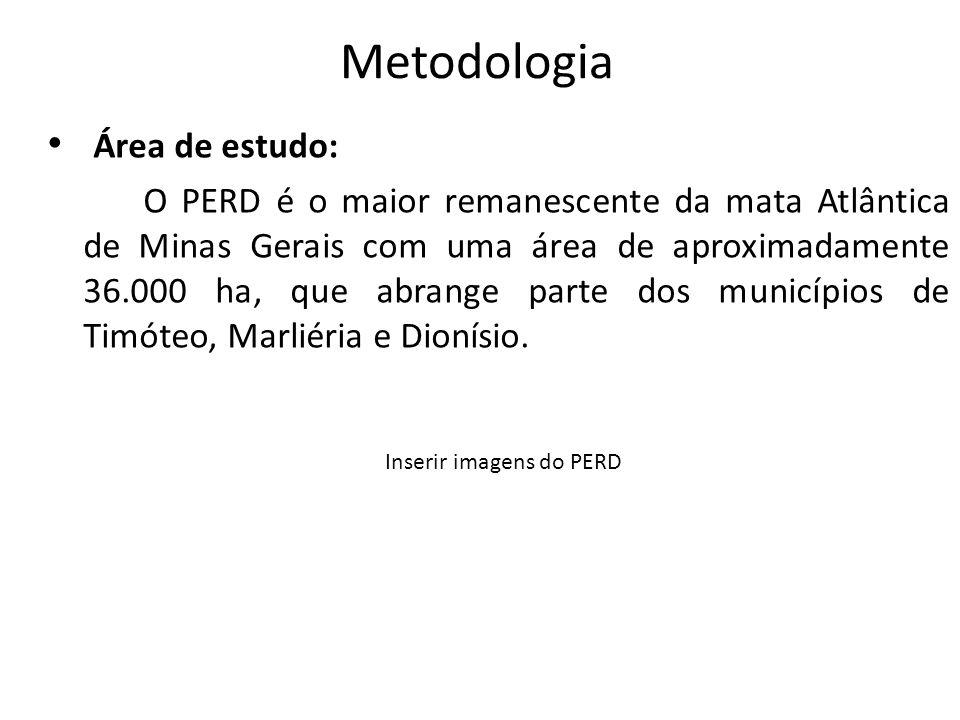 Metodologia Área de estudo: O PERD é o maior remanescente da mata Atlântica de Minas Gerais com uma área de aproximadamente 36.000 ha, que abrange par