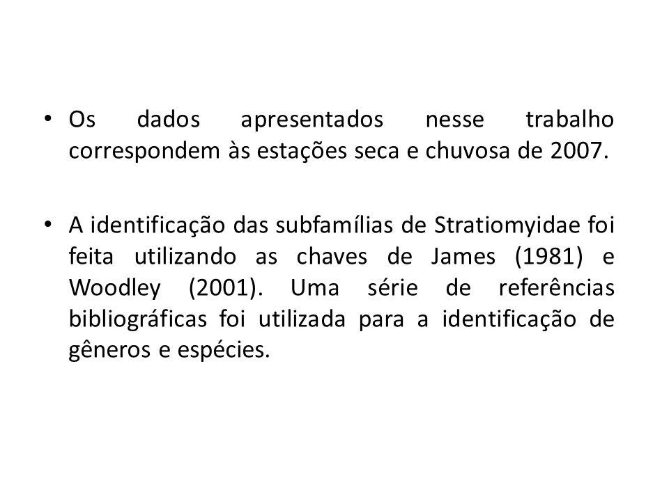 Os dados apresentados nesse trabalho correspondem às estações seca e chuvosa de 2007. A identificação das subfamílias de Stratiomyidae foi feita utili
