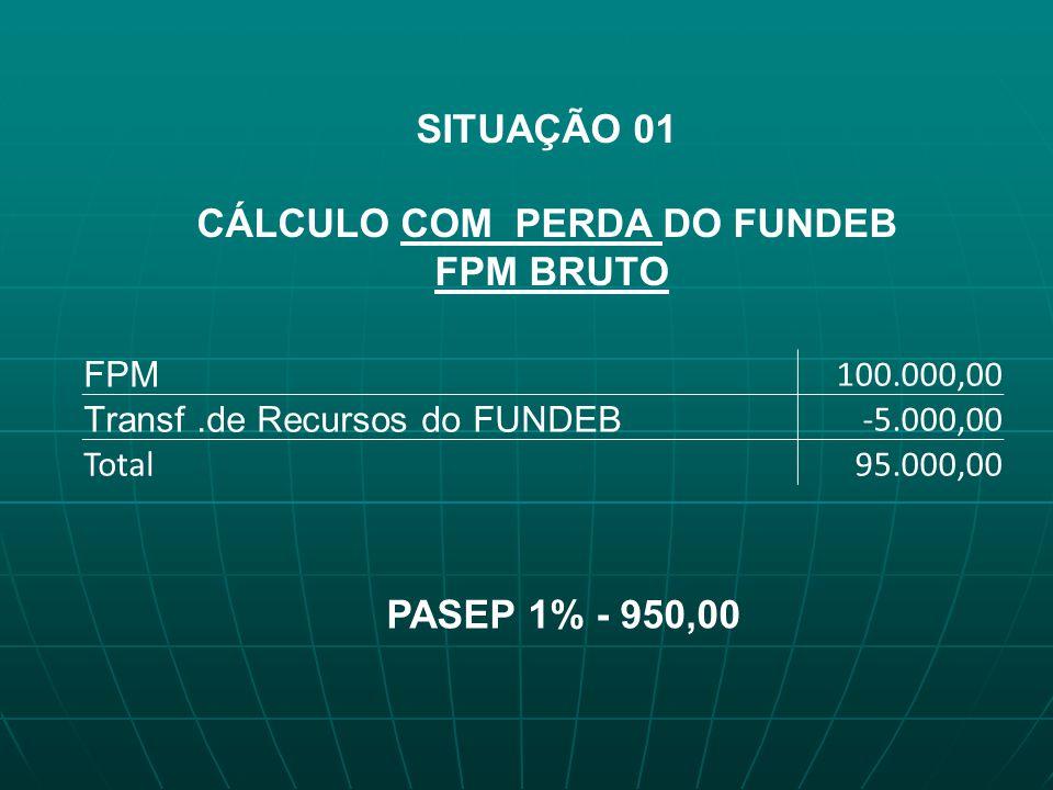 SITUAÇÃO 01 CÁLCULO COM PERDA DO FUNDEB FPM BRUTO FPM 100.000,00 Transf.de Recursos do FUNDEB -5.000,00 Total95.000,00 PASEP 1% - 950,00