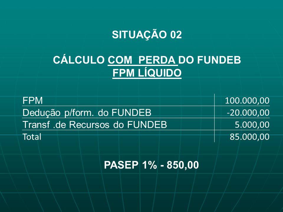 SITUAÇÃO 02 CÁLCULO COM PERDA DO FUNDEB FPM LÍQUIDO FPM 100.000,00 Dedução p/form. do FUNDEB -20.000,00 Transf.de Recursos do FUNDEB 5.000,00 Total85.