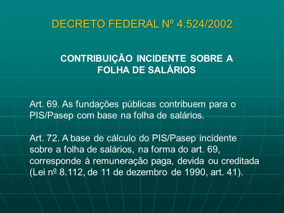 CONTRIBUIÇÃO INCIDENTE SOBRE A FOLHA DE SALÁRIOS Art. 69. As fundações públicas contribuem para o PIS/Pasep com base na folha de salários. Art. 72. A