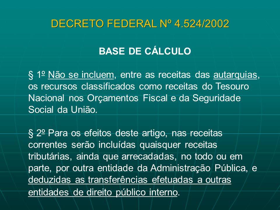 BASE DE CÁLCULO § 1º Não se incluem, entre as receitas das autarquias, os recursos classificados como receitas do Tesouro Nacional nos Orçamentos Fisc