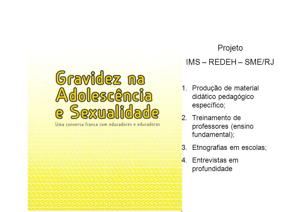 Projeto IMS – REDEH – SME/RJ 1.Produção de material didático pedagógico específico; 2.Treinamento de professores (ensino fundamental); 3.Etnografias e