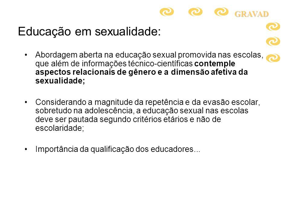 Educação em sexualidade: Abordagem aberta na educação sexual promovida nas escolas, que além de informações técnico-científicas contemple aspectos rel