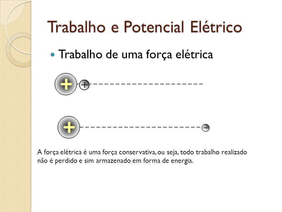 Trabalho e Potencial Elétrico Trabalho de uma força elétrica A força elétrica é uma força conservativa, ou seja, todo trabalho realizado não é perdido