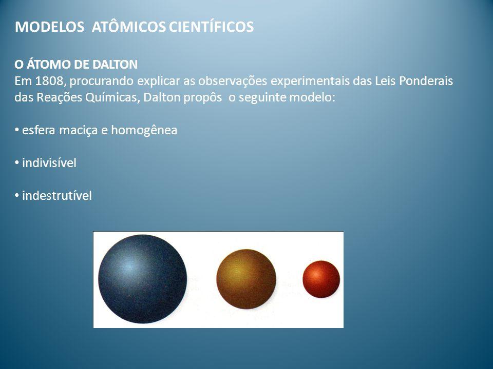 MODELOS ATÔMICOS CIENTÍFICOS O ÁTOMO DE DALTON Em 1808, procurando explicar as observações experimentais das Leis Ponderais das Reações Químicas, Dalt