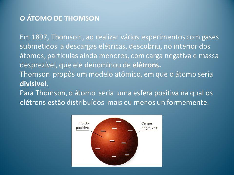 O ÁTOMO DE THOMSON Em 1897, Thomson, ao realizar vários experimentos com gases submetidos a descargas elétricas, descobriu, no interior dos átomos, pa