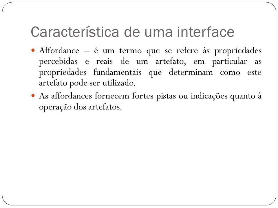 Característica de uma interface Affordance – é um termo que se refere às propriedades percebidas e reais de um artefato, em particular as propriedades