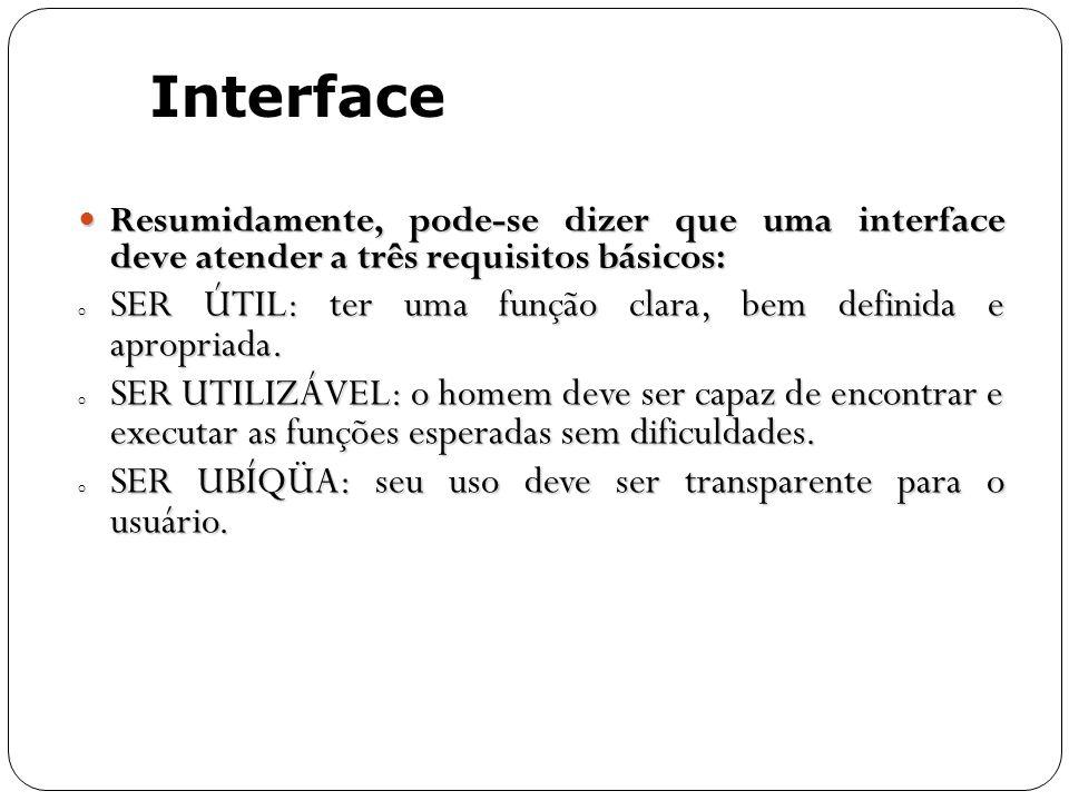 Resumidamente, pode-se dizer que uma interface deve atender a três requisitos básicos: Resumidamente, pode-se dizer que uma interface deve atender a t