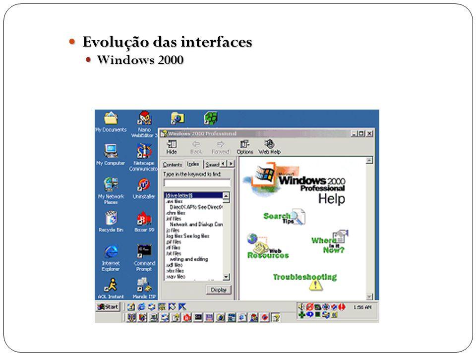 Evolução das interfaces Evolução das interfaces Windows 2000 Windows 2000
