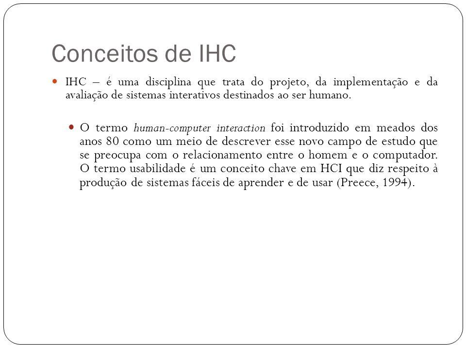 Conceitos de IHC IHC – é uma disciplina que trata do projeto, da implementação e da avaliação de sistemas interativos destinados ao ser humano. O term