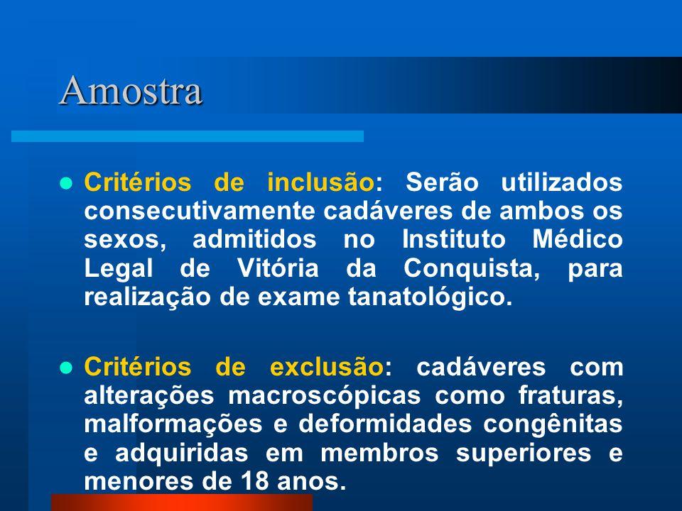 Amostra Critérios de inclusão: Serão utilizados consecutivamente cadáveres de ambos os sexos, admitidos no Instituto Médico Legal de Vitória da Conquista, para realização de exame tanatológico.