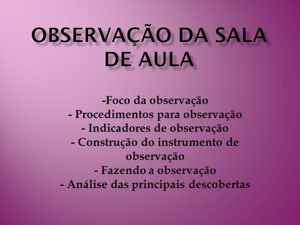 -Foco da observação - Procedimentos para observação - Indicadores de observação - Construção do instrumento de observação - Fazendo a observação - Análise das principais descobertas