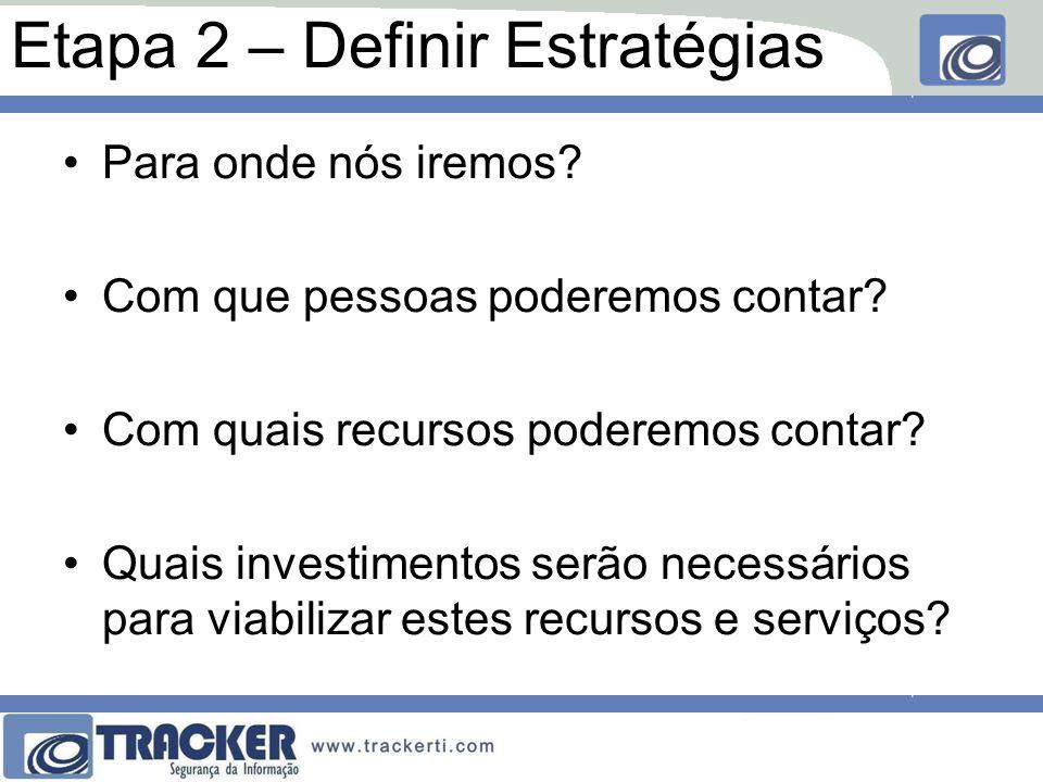 Etapa 2 – Definir Estratégias Podem ser: –Controles, procedimentos ou estratégias de PREVENÇÃO; –Controles, procedimentos ou estratégias de RECUPERAÇÃO;