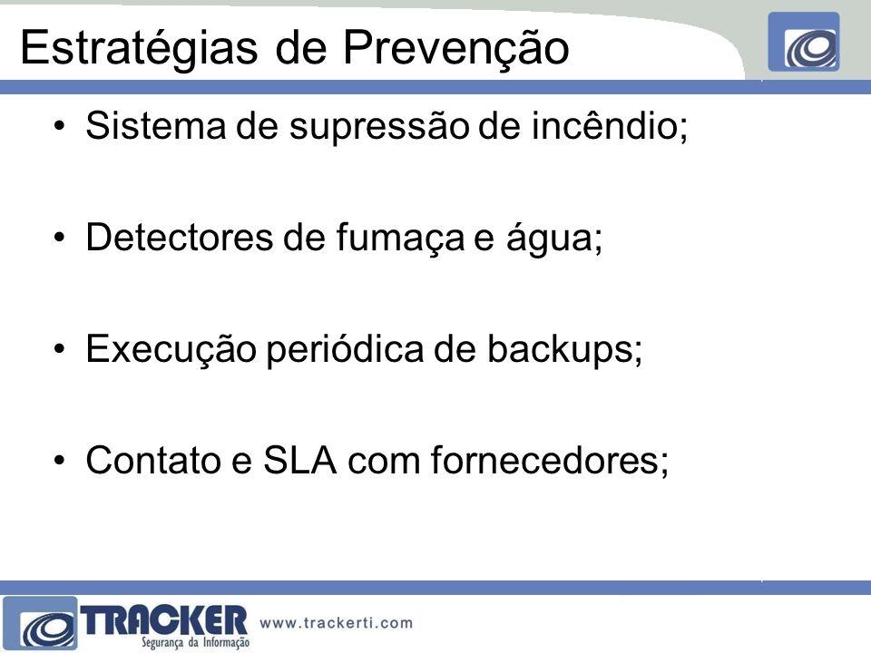 Estratégias de Prevenção Sistema de supressão de incêndio; Detectores de fumaça e água; Execução periódica de backups; Contato e SLA com fornecedores;
