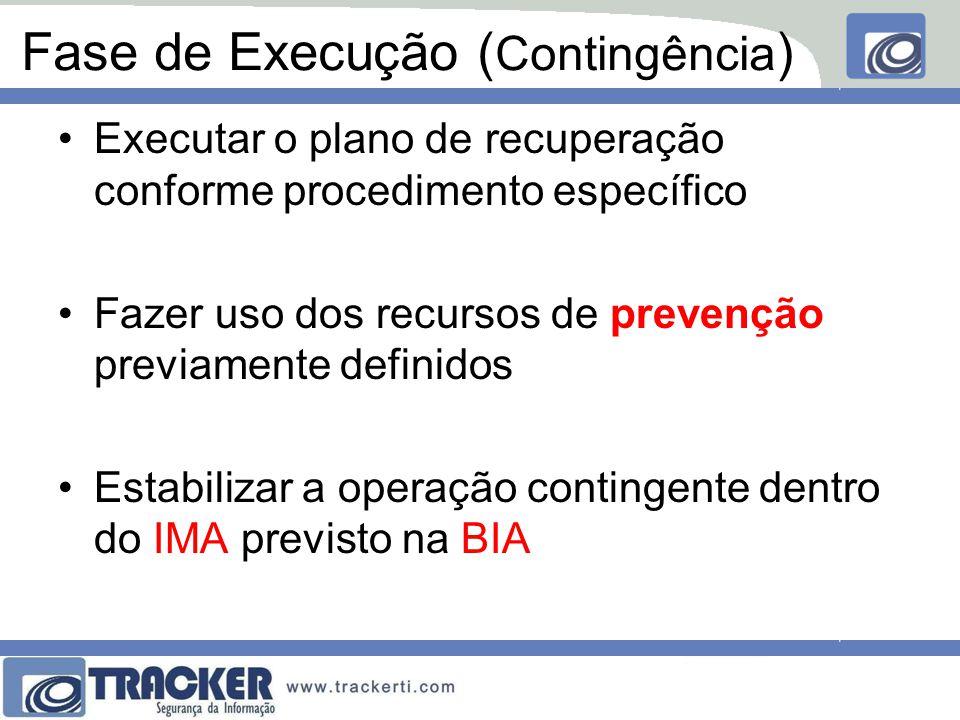 Fase de Execução ( Contingência ) Executar o plano de recuperação conforme procedimento específico Fazer uso dos recursos de prevenção previamente definidos Estabilizar a operação contingente dentro do IMA previsto na BIA