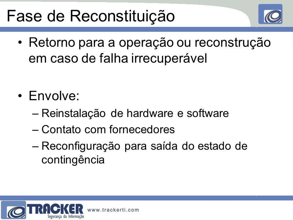 Fase de Reconstituição Retorno para a operação ou reconstrução em caso de falha irrecuperável Envolve: –Reinstalação de hardware e software –Contato com fornecedores –Reconfiguração para saída do estado de contingência