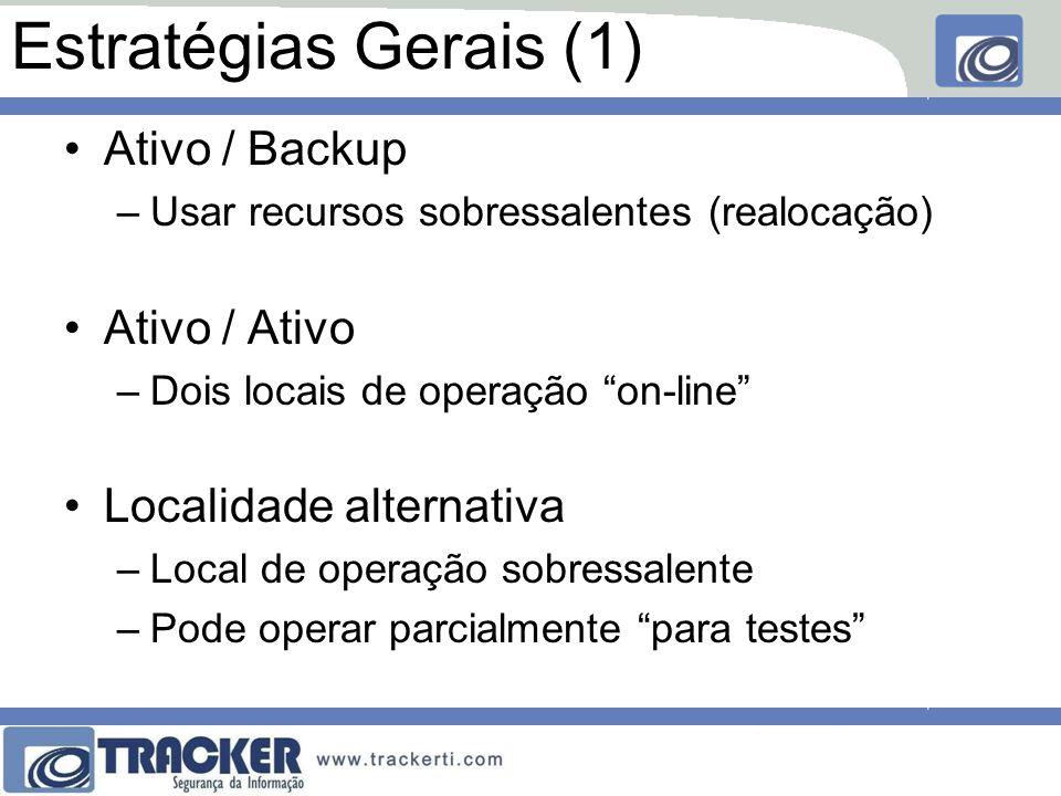 Estratégias Gerais (1) Ativo / Backup –Usar recursos sobressalentes (realocação) Ativo / Ativo –Dois locais de operação on-line Localidade alternativa –Local de operação sobressalente –Pode operar parcialmente para testes