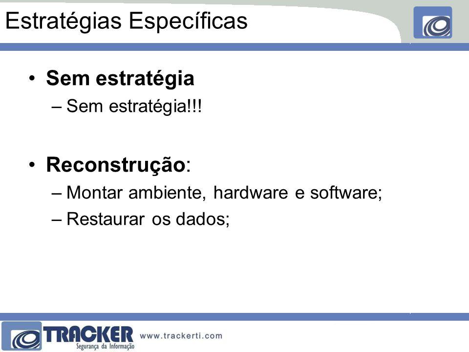 Estratégias Específicas Restauração: –Montar o ambiente e o hardware; –Restaurar o software e dos dados; Realocação: –Chavear o serviço para outro recurso; –Geralmente dentro do ambiente da própria empresa;