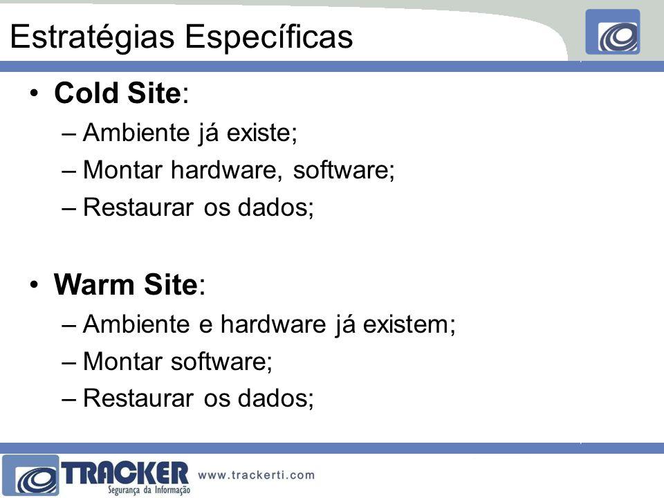 Estratégias Específicas Cold Site: –Ambiente já existe; –Montar hardware, software; –Restaurar os dados; Warm Site: –Ambiente e hardware já existem; –Montar software; –Restaurar os dados;