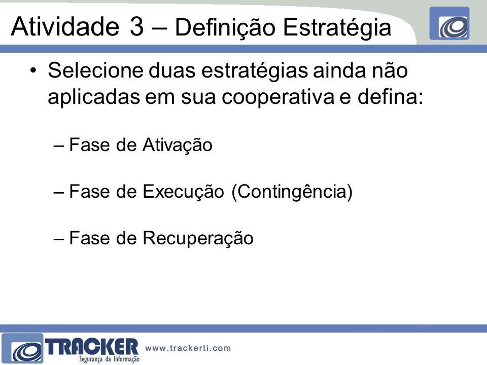 Atividade 3 – Definição Estratégia Selecione duas estratégias ainda não aplicadas em sua cooperativa e defina: –Fase de Ativação –Fase de Execução (Contingência) –Fase de Recuperação