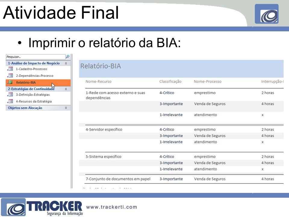 Atividade Final Imprimir o relatório da BIA: