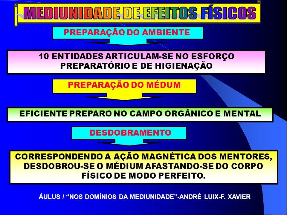 PREPARAÇÃO DO AMBIENTE 10 ENTIDADES ARTICULAM-SE NO ESFORÇO PREPARATÓRIO E DE HIGIENAÇÃO PREPARAÇÃO DO MÉDUM EFICIENTE PREPARO NO CAMPO ORGÂNICO E MENTAL DESDOBRAMENTO CORRESPONDENDO A AÇÃO MAGNÉTICA DOS MENTORES, DESDOBROU-SE O MÉDIUM AFASTANDO-SE DO CORPO FÍSICO DE MODO PERFEITO.