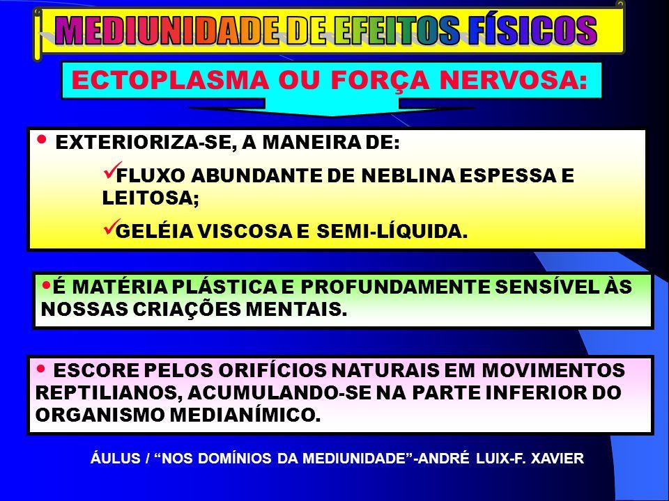 EXTERIORIZA-SE, A MANEIRA DE: FLUXO ABUNDANTE DE NEBLINA ESPESSA E LEITOSA; GELÉIA VISCOSA E SEMI-LÍQUIDA. ÁULUS / NOS DOMÍNIOS DA MEDIUNIDADE-ANDRÉ L