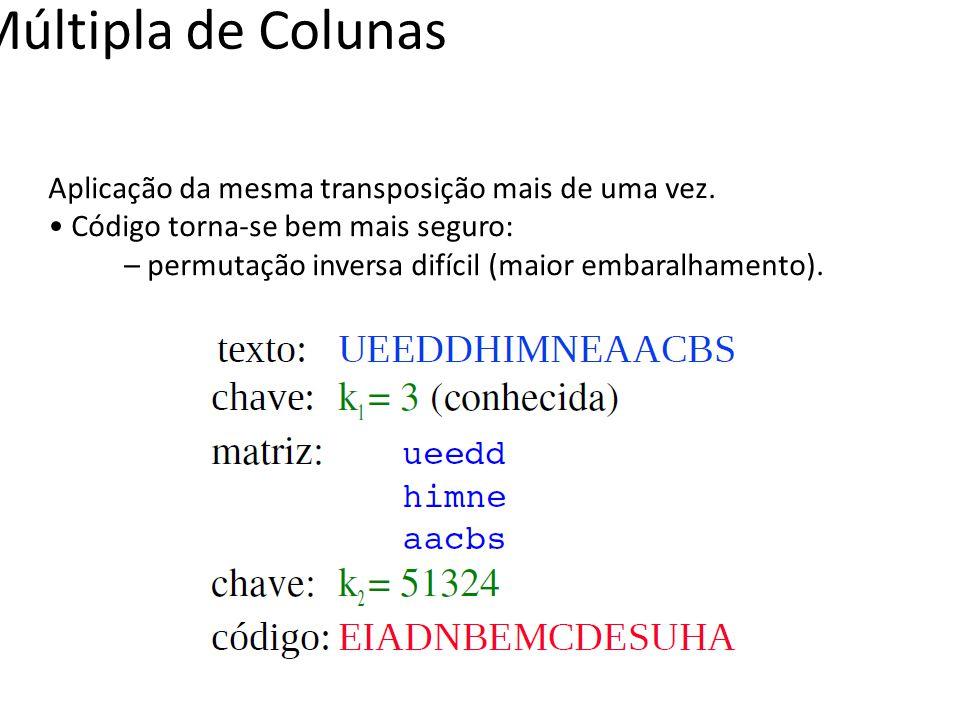 Transposição Múltipla de Colunas Aplicação da mesma transposição mais de uma vez. Código torna-se bem mais seguro: – permutação inversa difícil (maior