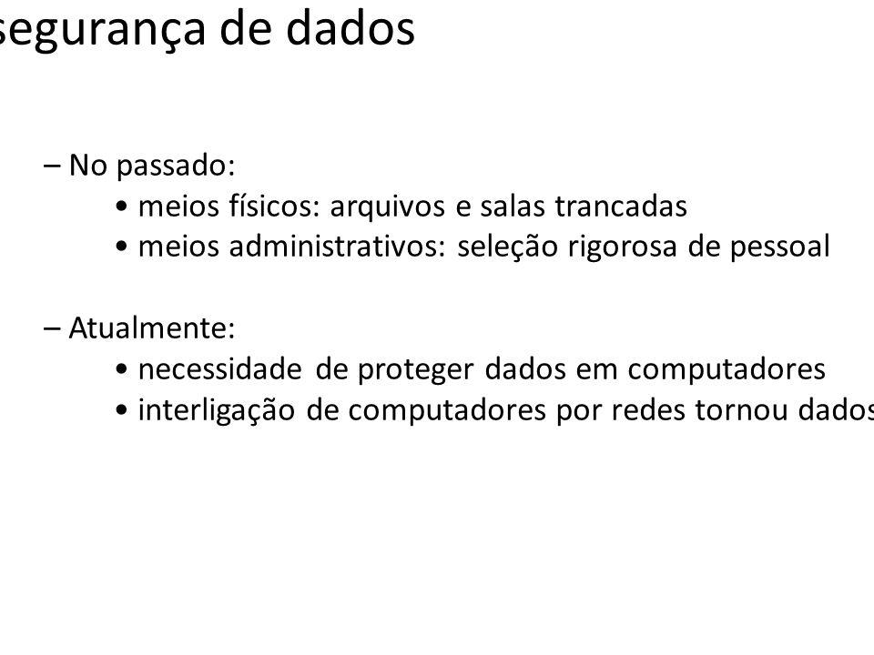 Conceitos básicos Confidencialidade; Integridade; Disponibilidade; Autenticação; Autorização.