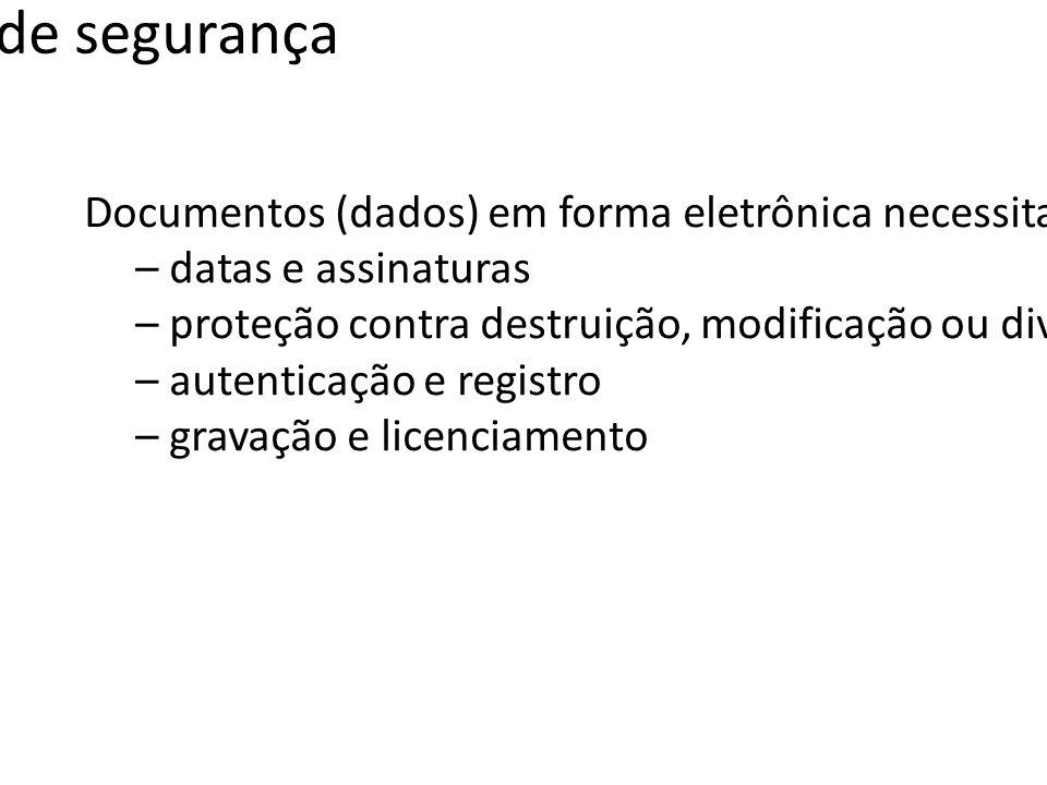 Serviços de segurança Documentos (dados) em forma eletrônica necessitam dos mesmos serviços (funções) associados aos seus pares em papel. – datas e as