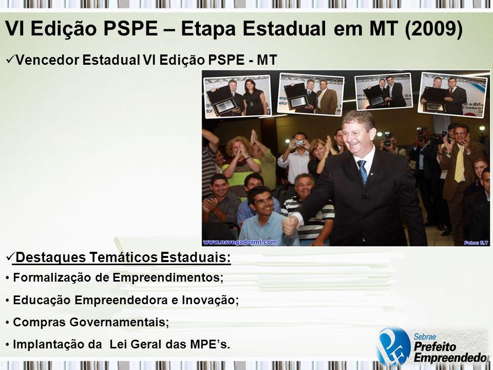 VI Edição PSPE – Etapa Estadual em MT (2009) Vencedor Estadual VI Edição PSPE - MT Destaques Temáticos Estaduais: Formalização de Empreendimentos; Educação Empreendedora e Inovação; Compras Governamentais; Implantação da Lei Geral das MPEs.